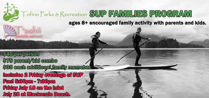 stand up paddle boarding as a family in Tofino