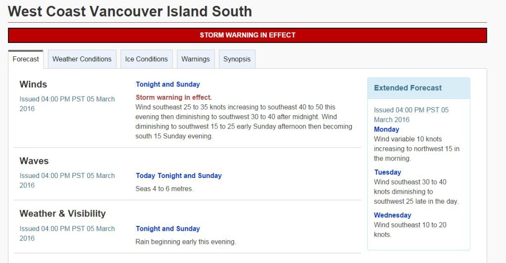 Weather Canadian Government weather forecast