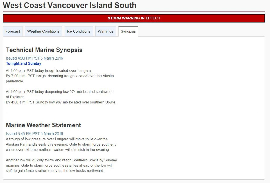 Weather Canadian Government weather synopsis